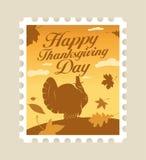 znaczek pocztowy szczęśliwy dziękczynienie ilustracji