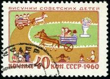 Znaczek pocztowy USSR - rysunki dzieci, 1960 ilustracji