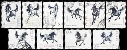 Znaczka drukowany działający koń Obraz Royalty Free