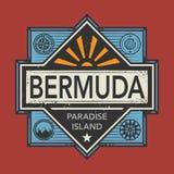 Znaczka lub rocznika emblemat z tekstem Bermuda, Odkrywa świat ilustracja wektor