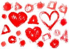 Znaczki drukujący watercolour serca dostrzegają tło i Okrążają Obraz Stock
