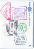 Znaczki Malezja, Bahrajn i Singapur w Francuskim paszporcie, Fotografia Royalty Free