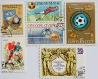 Znaczki pocztowi Czechoslovakia na futbolu i USSR Fotografia Stock