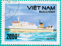 Znaczki pocztowi drukujący w Wietnam przedstawień statku w morzu Obraz Royalty Free