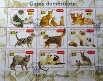 Znaczki pocztowi - Gatos domesticos Fotografia Stock