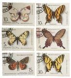 Znaczki pocztowi USSR z wizerunkiem motyla isolat, Zdjęcia Stock