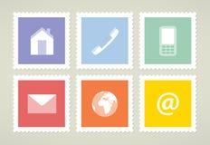 Znaczki pocztowi z symbolami Obraz Stock