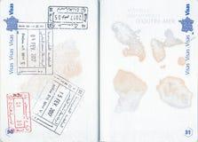 Znaczki Tunezja i Maroko w Francuskim paszporcie Zdjęcie Stock