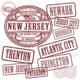 Znaczki ustawiają z imionami miasta w stanie Nowy - bydło royalty ilustracja