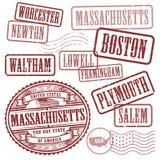 Znaczki ustawiają z imionami miasta w stanie Massachusetts Zdjęcie Royalty Free