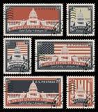 Znaczki z wizerunkiem USA Capitol ilustracji
