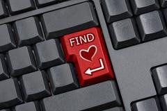 Znajdować miłości Kluczową Komputerową klawiaturę Fotografia Stock