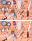 Znajduje brakujący pięć łamigłówkę, kuchenny kulinarny o temacie Łatwy poziom obrazy stock