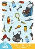 Znajduje dwa ten sam obrazki, gra dla dzieci Koloru set fryzjer rzeczy ilustracji