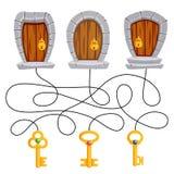Znajduje który klucz jest stosowny który drzwi Łamigłówka Dla dzieciaków labirynt gra ilustracji