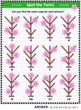 Znajduje pary identyczni obrazki z pierwszy wiosna kwiatami ilustracja wektor