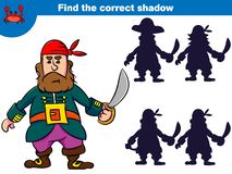 Znajduje poprawnego cień, edukaci gra dla dzieci Set kreskówka pirata charaktery również zwrócić corel ilustracji wektora zdjęcia stock
