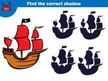 Znajduje poprawnego cień, edukacji gra dla dzieci Ustawiających kreskówka pirata charaktery również zwrócić corel ilustracji wekt fotografia stock