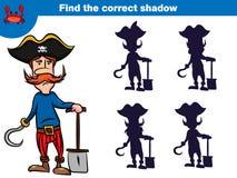 Znajduje poprawnego cień, edukacji gra dla dzieci Ustawiających kreskówka pirata charaktery również zwrócić corel ilustracji wekt obrazy royalty free