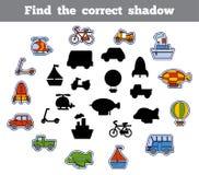 Znajduje poprawnego cień, gra dla dzieci ustalony transport royalty ilustracja