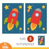 Znajduje różnicy, edukacji gra, rakieta w przestrzeni ilustracja wektor