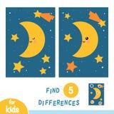 Znajduje różnicy i gra główna rolę nocne niebo, edukacji gra, księżyc royalty ilustracja