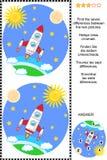 Znajduje różnicy wizualną łamigłówkę - eksploracja przestrzeni kosmicznej ilustracji
