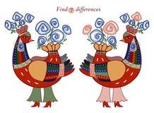 Znajduje siedem różnic między dwa pięknymi czarodziejskimi ptakami Obrazy Stock
