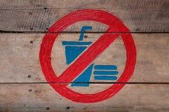 Znak żadny jedzenie i żadny napój zdjęcie royalty free