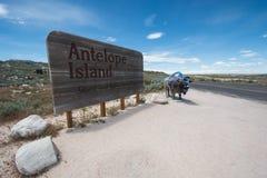 Znak dla antylopy wyspy stanu parka w Utah fotografia stock