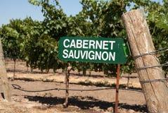 Znak dla Cabernet, Sauvignon winogron - Fotografia Royalty Free