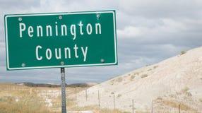 Znak dla Pennington okręgu administracyjnego w Południowym Dakota Zdjęcia Royalty Free