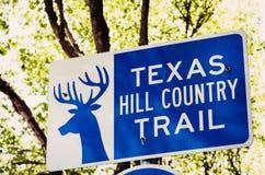 Znak dla Teksas wzgórza kraju śladu Obrazy Stock