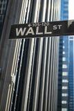 Znak dla Wall Street, Nowy Jork obraz royalty free
