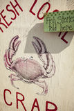 Znak dla świeżego lokalnego kraba Zdjęcia Stock