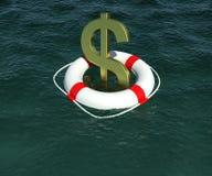 znak dolarowa lifebuoy woda ilustracja wektor