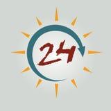 znak 24 doręczeniowej godzina Obrazy Stock