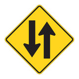 znak drogowy dwóch sposób ostrzegawcze ilustracja wektor