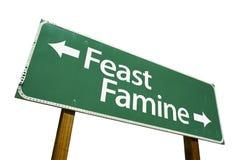 znak drogowy głód ucztę Fotografia Royalty Free