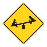 znak drogowy ostrzeżenie plac zabaw royalty ilustracja