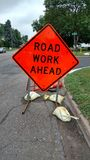 znak drogowy pracy do przodu Zdjęcie Stock