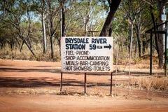 Znak Drysdale rzeki stacja w Australia Kimberley regionie obraz royalty free