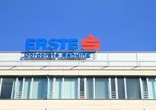 Znak firmowy Erste Korporacyjna bankowość Zdjęcia Stock