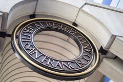 Znak Francisco rezerwy federalnej bank fotografia royalty free