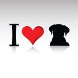 Znak kocham psią wektorową ilustrację Zdjęcia Stock