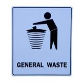 Znak kosz dla generał odpady Zdjęcie Royalty Free