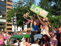 Znak miłość przy paradą Obrazy Stock