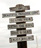 Znak na Malibu plaży, Los Angeles, Kalifornia Fotografia Royalty Free
