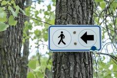 znak na pieszą wycieczkę toru Fotografia Royalty Free