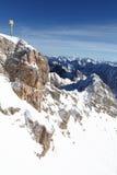 Znak na Zugspitze górze zdjęcia stock